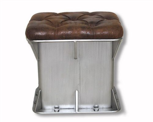 52cm Iron Industrial Angular Ottoman Storage Stool With Faux Leather Lid